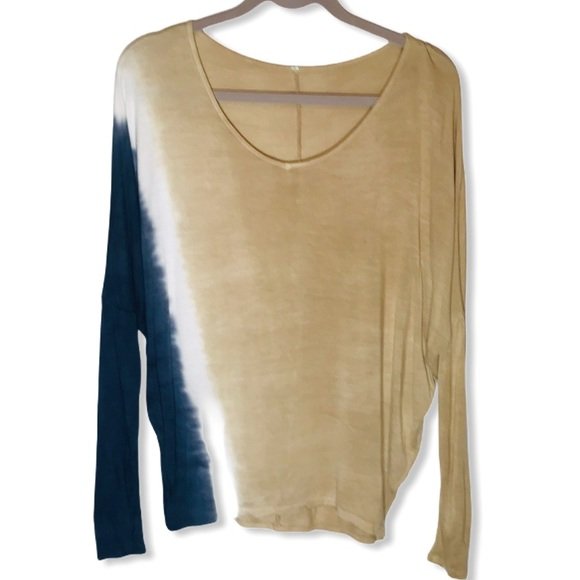Long Sleeve Tan/Blue/White Loose Fit Top